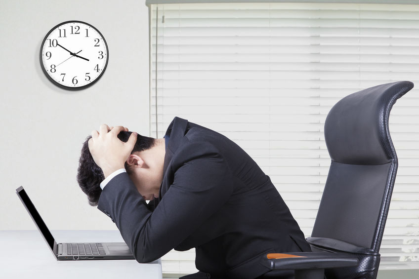 man stressed from bankruptcy